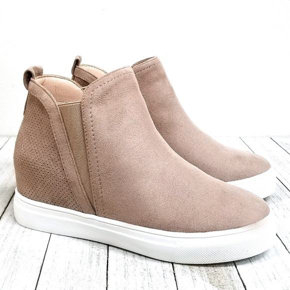 New Taupe Wedge High Top Platform